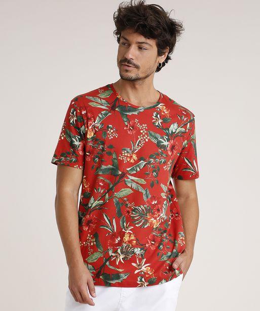 Oferta de Camiseta Masculina Estampada Floral Manga Curta Gola Careca Cobre por R$19,99