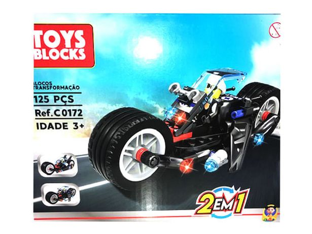 Oferta de Toys Blocks - Blocos de Transformacao 2 em 1 - 125 pecas - Moto TERRACO por R$12