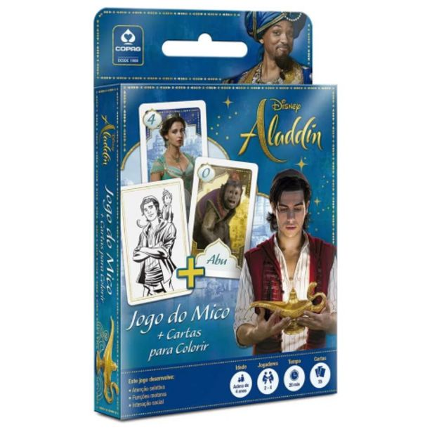 Oferta de Jogo de Cartas Mico Aladdin Disney e Cartas para Colorir - Copag por R$5,4