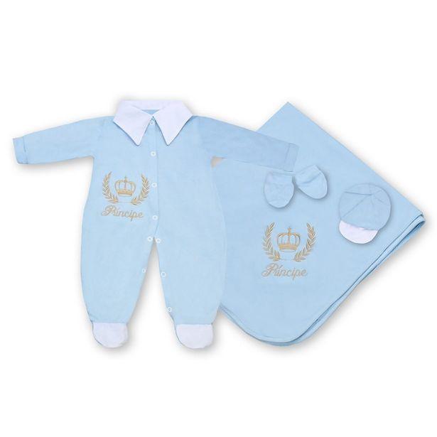 Oferta de Saída Maternidade Príncipe Azul Bebê 4 Peças por R$77,88