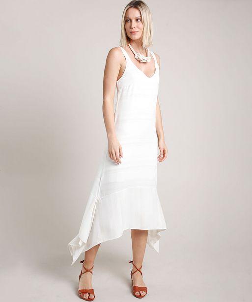 Oferta de Vestido Feminino Midi com Lurex Assimétrico Alça Média Off White por R$64,99