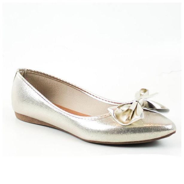 Oferta de Sapatilha Tag Shoes Metalizada Laço Bico Fino Conforto por R$29,9