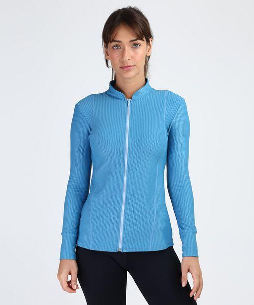 Oferta de Jaqueta Feminina Esportiva Ace Texturizada Gola Alta Azul Claro por R$44,99