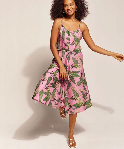 Oferta de Macacão Feminino EMI Beachwear Pantacourt Estampado Bananeiras com Alça Fina e Decote Redondo Rosa por R$68,99