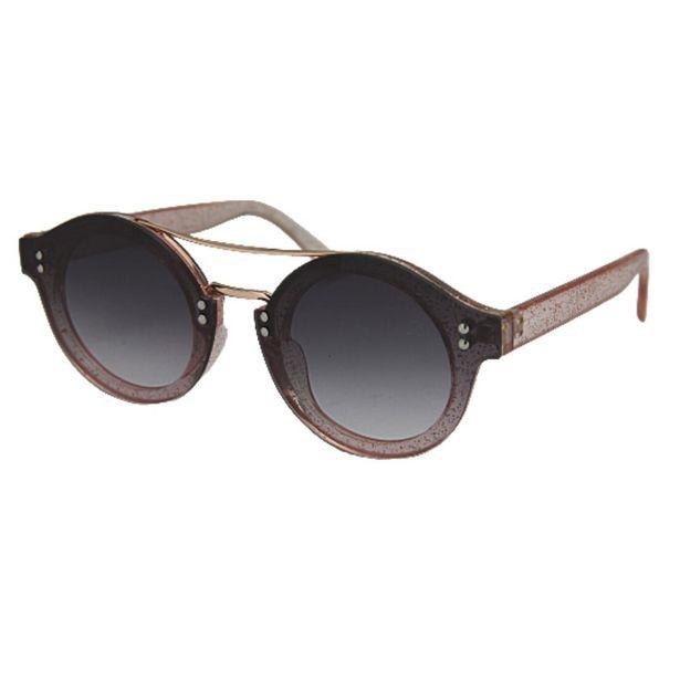Oferta de OUTLET - Óculos de Sol Khatto Round Glitter - Preto e Rosê por R$59,96