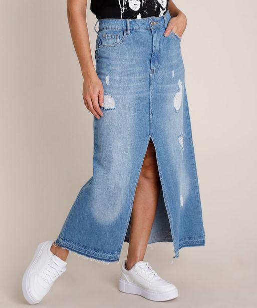 Oferta de Saia Jeans Feminina Longa Destroyed com Fenda Azul Médio por R$34,99