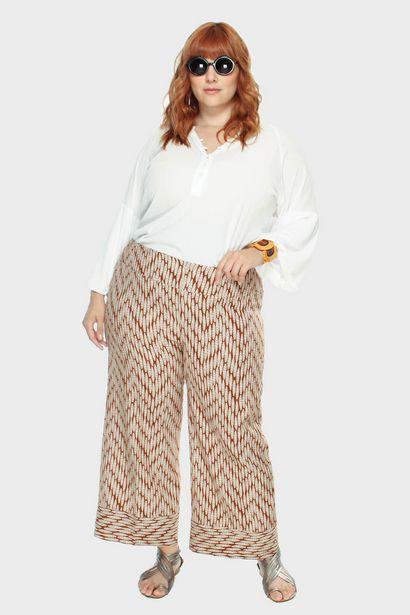 Oferta de Calça Cropped Linho Casablanca Plus Size por R$73,2