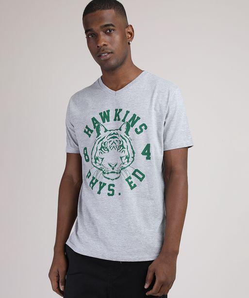 Oferta de Camiseta Masculina Tigre Manga Curta Gola Careca Cinza Mescla por R$15,99