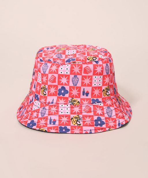 Oferta de Chapéu Bucket Hat Estampado Lorena Vichy Mindset Lorena Moreira Multicor por R$49,98