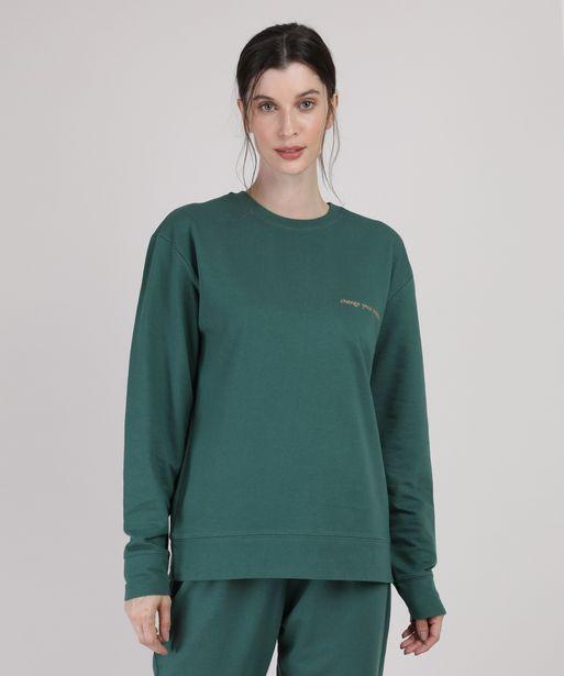 """Oferta de Blusão de Moletom Feminino Mindset """"Change Your Mindset"""" Decote Redondo Verde Escuro por R$39,99"""