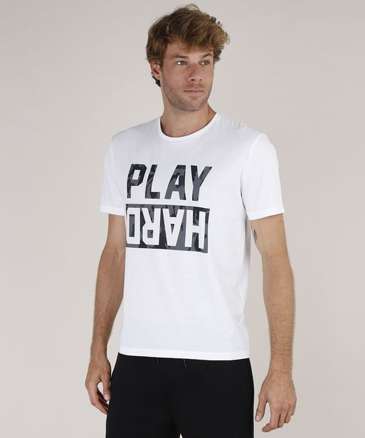 "Oferta de Camiseta Masculina Esportiva Ace ""Play Hard"" Manga Curta Gola Careca Off White por R$15,99"