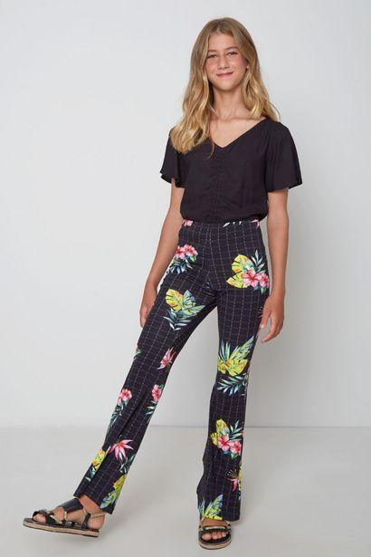 Oferta de Calça Flare Est Floral Grid Oh, Boy! Preta por R$62