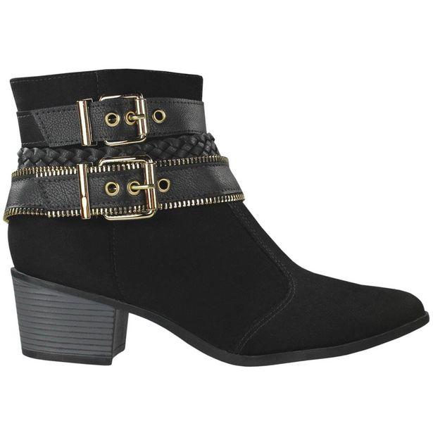 Oferta de Bota Firezzi Ankle Boot Feminina Preto por R$49,89