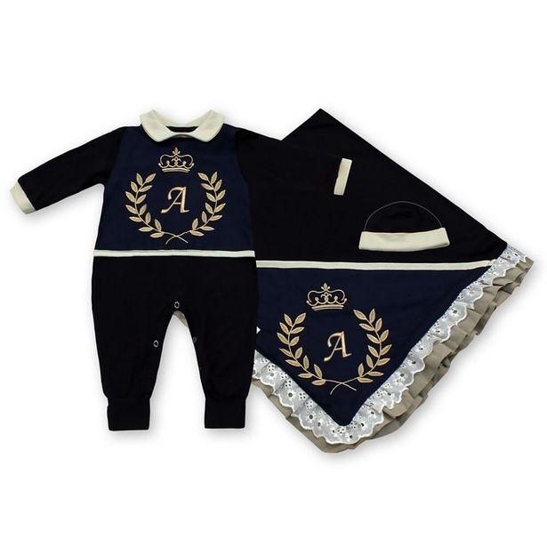 Oferta de Saída Maternidade Com a Inicial do Bebê Bordada Luxo 3 Peças por R$83,88