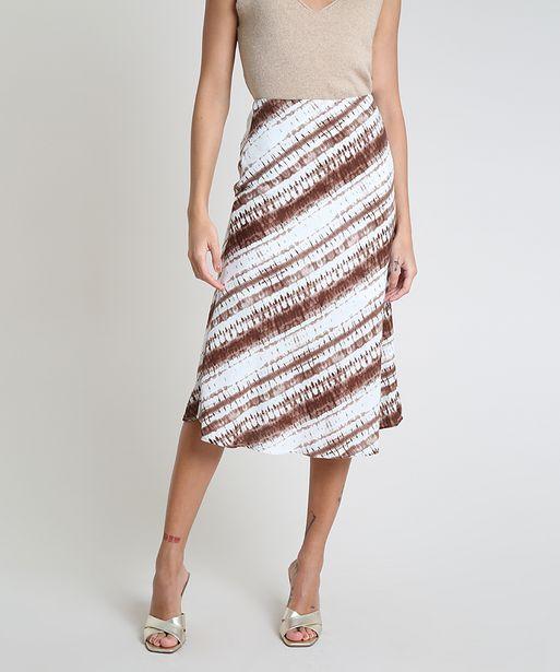 Oferta de Saia Feminina Mindset Midi Estampada Tie Dye Evasê Branco por R$49,99