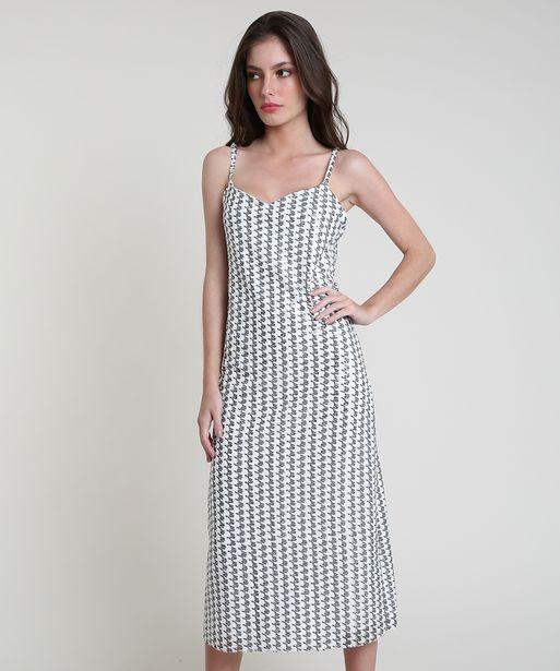Oferta de Vestido Feminino Mindset Midi Estampado Pied de Poule em Paetês Alça Fina Branco por R$69,99