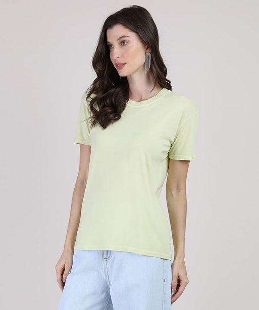 Oferta de T-Shirt Feminina Mindset Manga Curta Decote Redondo Verde Claro por R$22,99