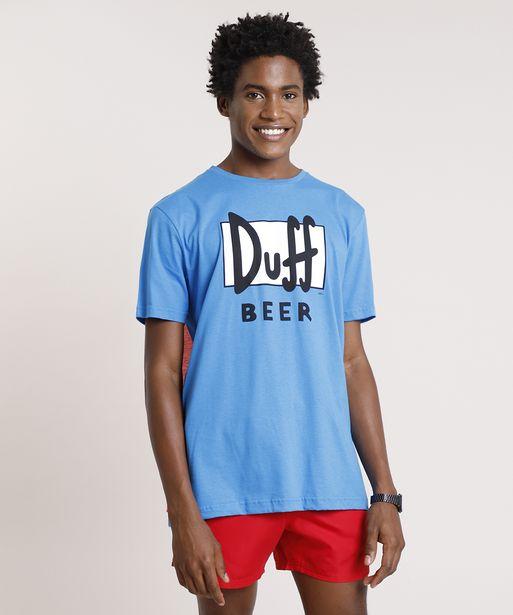Oferta de Camiseta Masculina Carnaval Duff Beer Os Simpsons com Capa Manga Curta Gola Careca Azul por R$19,99
