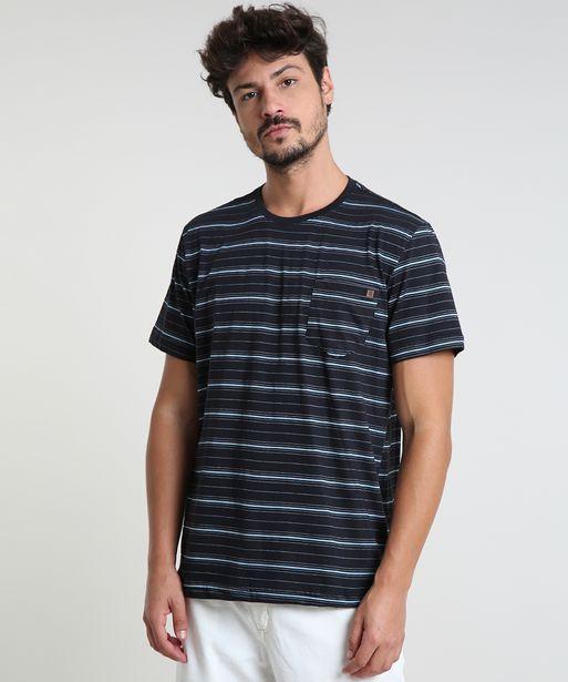 Oferta de Camiseta Masculina Listrada com Bolso Manga Curta Gola Careca Preta por R$19,99