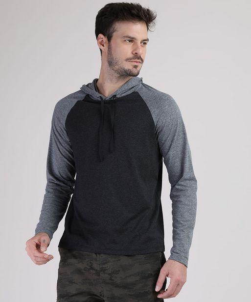 Oferta de Camiseta Masculina Raglan com Capuz Manga Longa Cinza Mescla Escuro por R$11,99