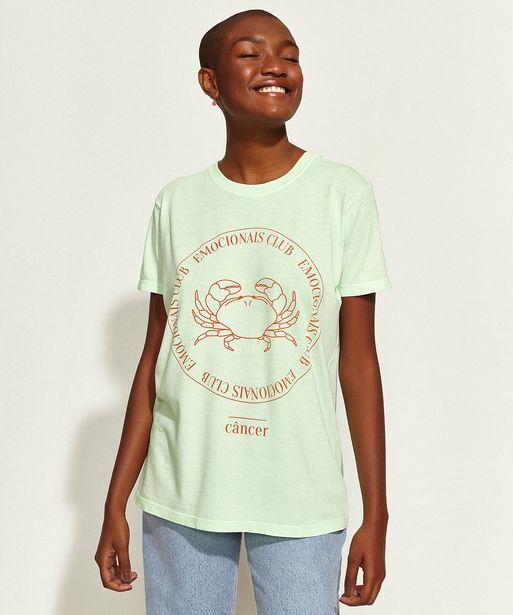 Oferta de T-Shirt Feminina Mindset Obvious Signos Câncer Manga Curta Decote Redondo Verde Claro por R$19,99