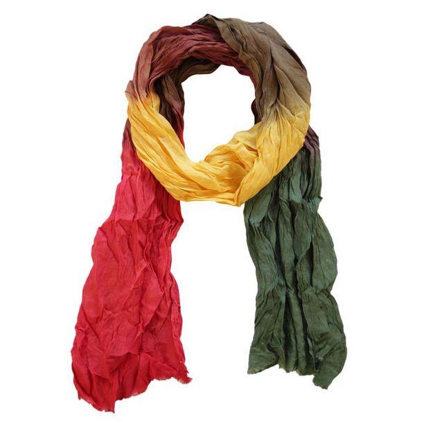 Oferta de Echarpe Degradê Amarelo, Vermelho e Verde em Viscose Amassado 160x55 cm por R$23,22