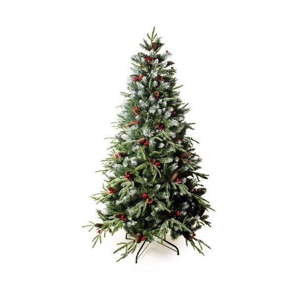 Oferta de Árvore De Natal Nevada C/ Cerejas E Pinhas 210Cm 2125 Hastes por R$2819,9