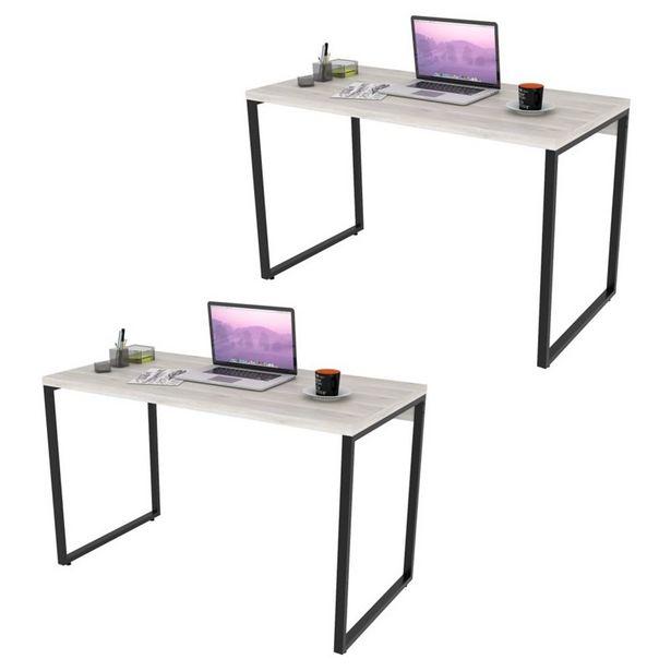 Oferta de Kit 2 Mesas de Escritório Office 120Cm Estilo Industrial Prisma Snow - Mpozenato por R$627,9