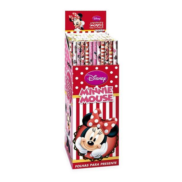 Oferta de 3 Folhas Poli Transp. Minnie Disney Papel Presente por R$6,9