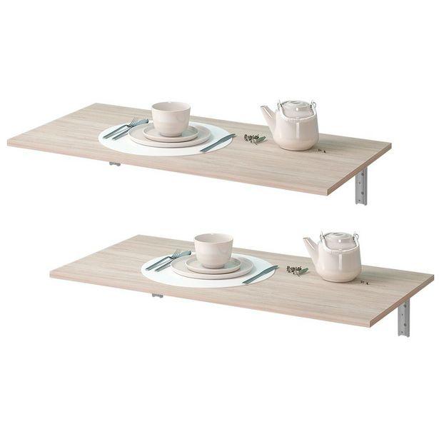 Oferta de Kit 02 Mesas Dobráveis de Parede Cozinha Slim Suspensa 120x45 BP Amadeirado Fosco - Lyam Decor por R$419,9