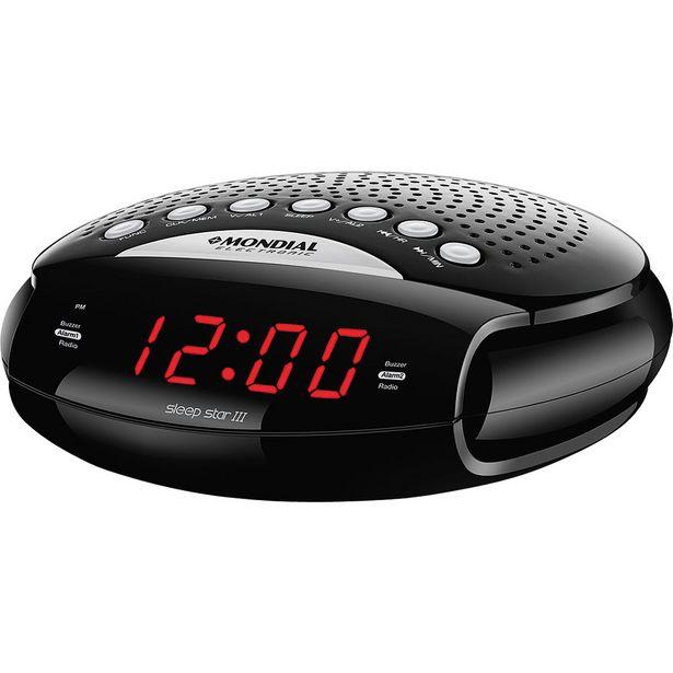 Oferta de Rádio Relógio Com AM/FM. Alarme e Função Soneca Mondial Sleep Star III RR-03 por R$103,9