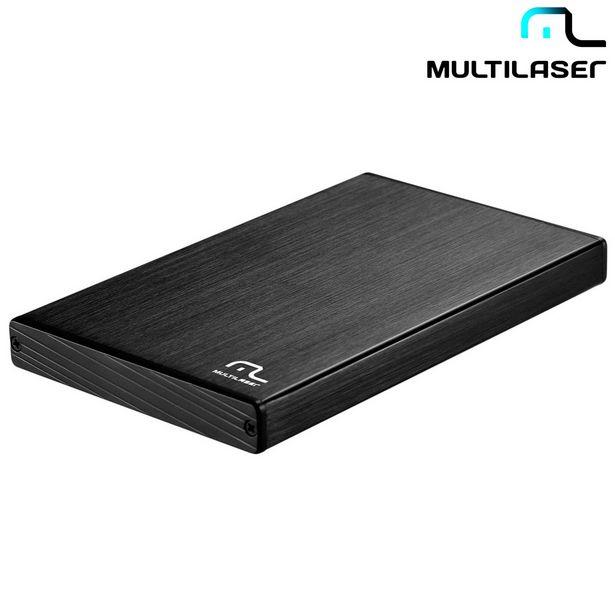 """Oferta de Case Para HD Externo 2,5"""" Em Alumínio Escovado Suporta HD de Até 1TB Compatível Com Sata 1 e Sata 2 e Alta Resistência A Choques GA122 Multilaser por R$74,9"""