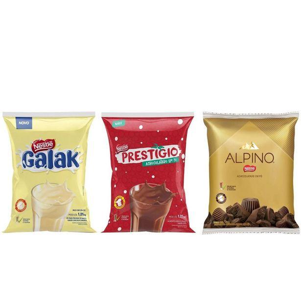 Oferta de Combo Com Achocolatado Em Pó Galak + Prestigio + Alpino Nestle 1,01kg por R$87,6