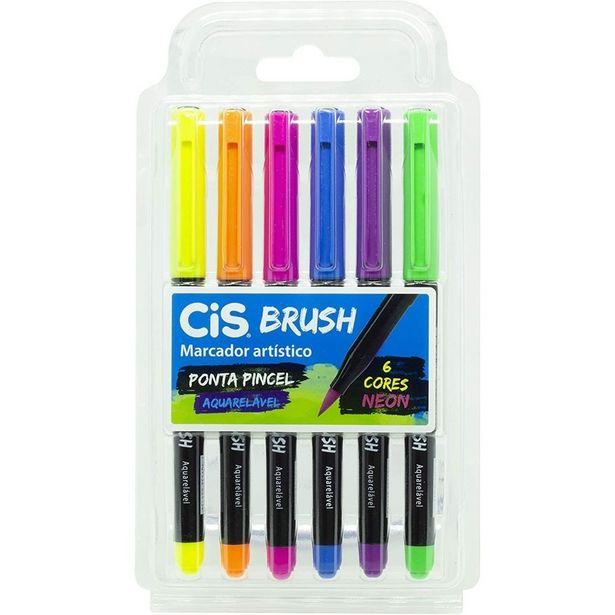 Oferta de Caneta Marcador Brush Aquarelável 6 Cores Neon Cis por R$34,9