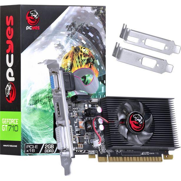 Oferta de Placa De Vídeo Pcyes Nvidia Geforce GT 710 2GB GDDR3 64 Bits Fan por R$366,6