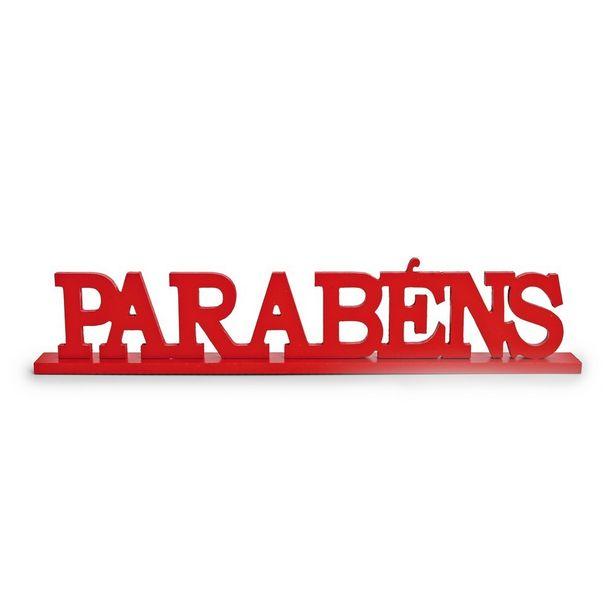 Oferta de Letras Decorativas de Madeira Parabéns Vermelho Decoração Festas por R$39,9