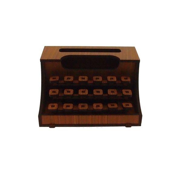 Oferta de Maquina De Escrever Decorativa Cor Amarela Madeira por R$9,9