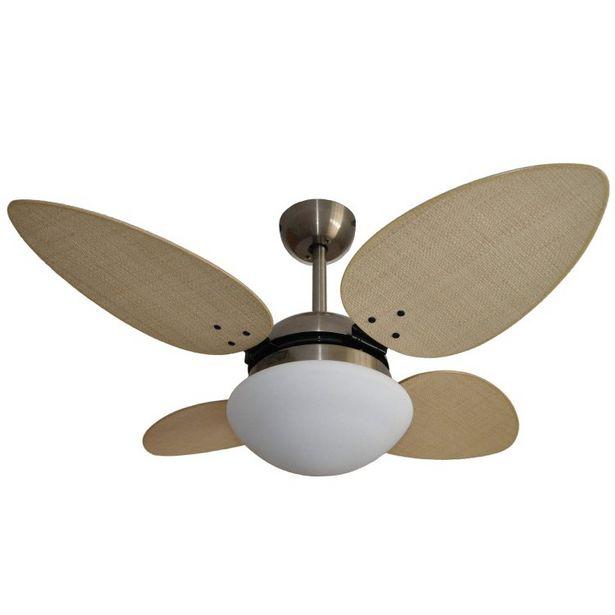 Oferta de Ventilador de Teto 4 Pás Volare Bronze VR42 Pétalo Palmae Natural por R$1209,9