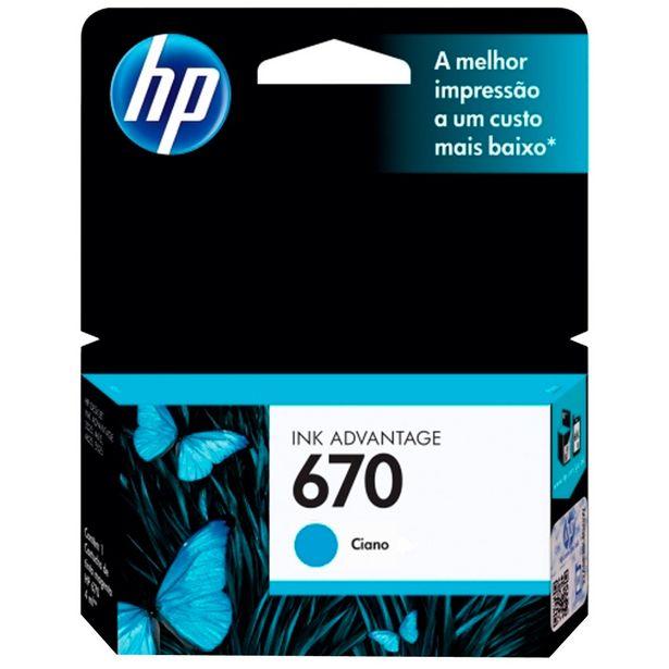Oferta de Cartucho de Tinta HP 670 Ciano por R$59,78