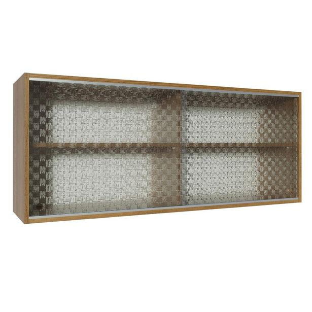 Oferta de Armário Aéreo Madesa Glamy 2 Portas de Correr de Vidro Quadrato - Rustic por R$419,99