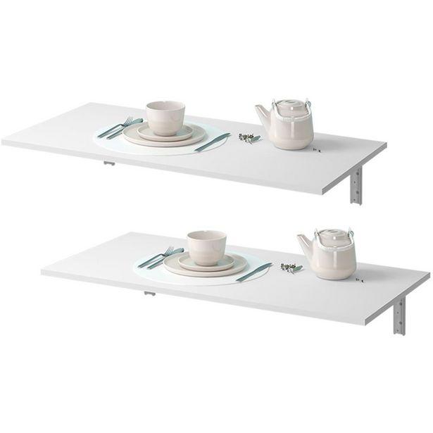 Oferta de Kit 02 Mesas Dobráveis de Parede Cozinha Slim Suspensa 120x45 BP Branco Fosco - Lyam Decor por R$419,9
