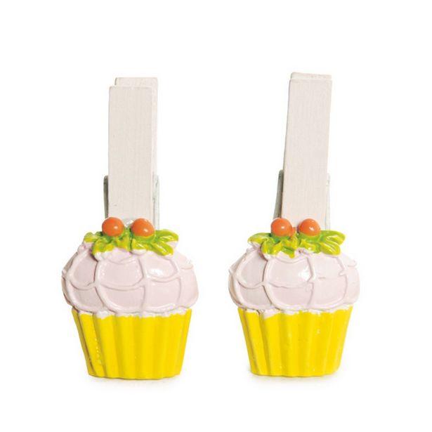 Oferta de Pregador Cupcake Decoração Festa Páscoa C/ 6 Pçs 6 Unid. Amarelo por R$7,9