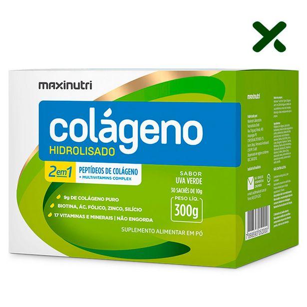 Oferta de Colageno Hidrolisado 30 Saches Sabor Uva Verde Loja Maxinutri por R$69,9