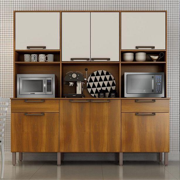 Oferta de Kit Cozinha Salleto Imola com 8 Portas 2 Gavetas com Divisor de Talheres e Pés Reguláveis 200x200x45 - Nogal e Off White por R$499
