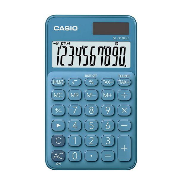 Oferta de Calculadora Portátil Casio C/ Visor Amplo 10 Dígitos e Alimentação Dupla Azul por R$49,9