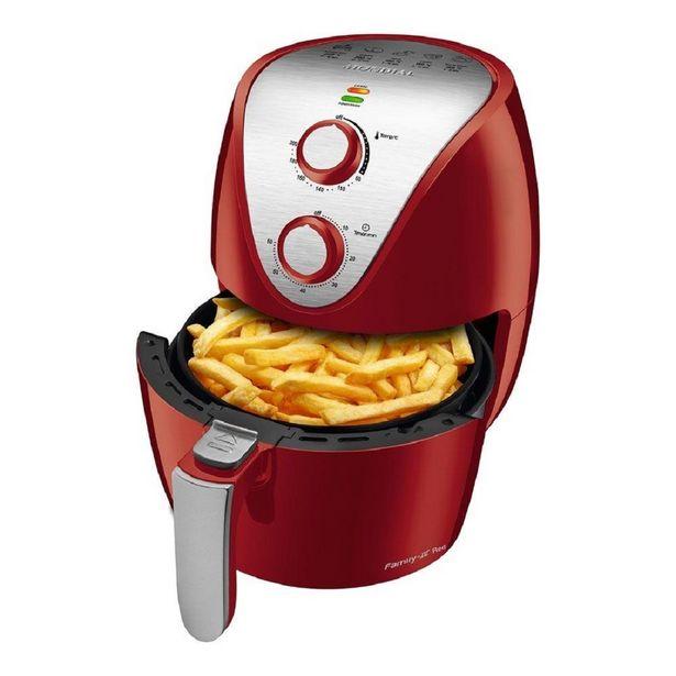 Oferta de Fritadeira Air Fryer Mondial AF32RI Vermelha Inox, 1500W de Potência, Capacidade de 3,5L por R$359