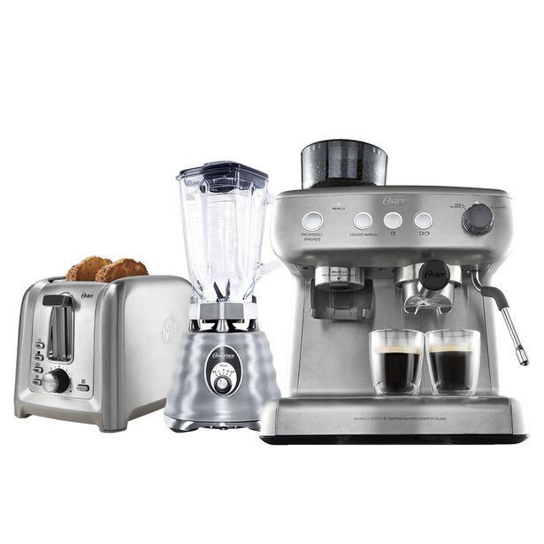 Oferta de Kit Inox Perfect - Cafeteira Espresso - Liquidificador - Torradeira Oster por R$3299