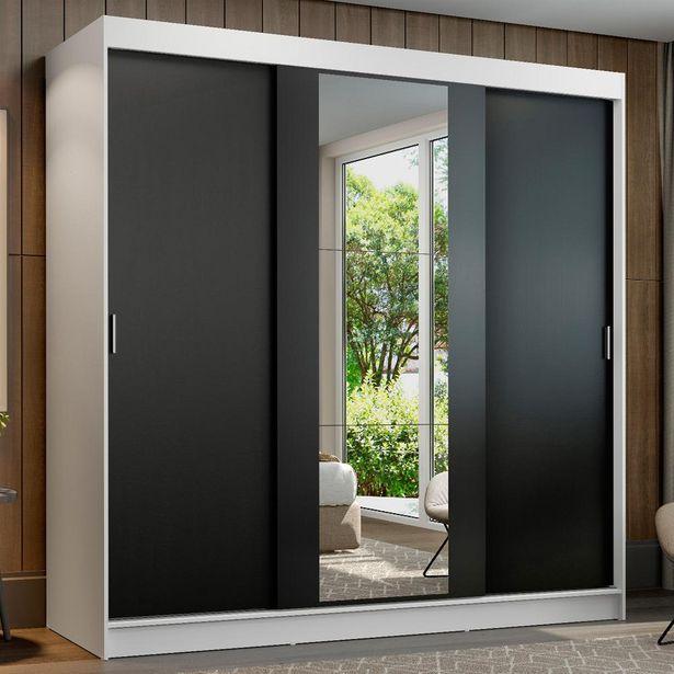 Oferta de Guarda-Roupa Casal Madesa Reno 3 Portas de Correr Com Espelho por R$1259,99
