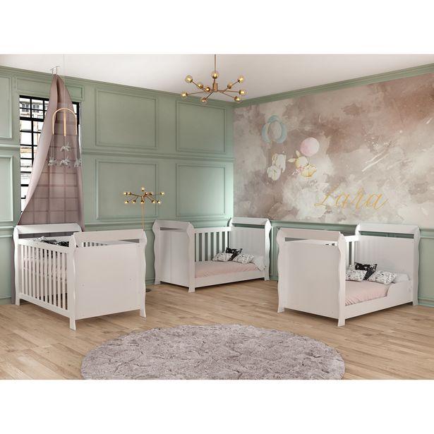 Oferta de Berço Lara 3x1 Carolina Baby Padrão Americano - Branco por R$369