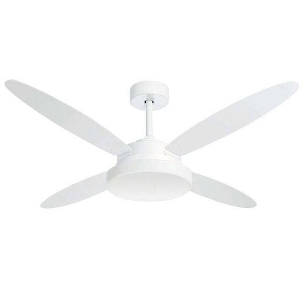 Oferta de Ventilador de Teto 4 Pás e Luminária Volare Lanai Dupla Face Volare Tabaco/Branco por R$819,9